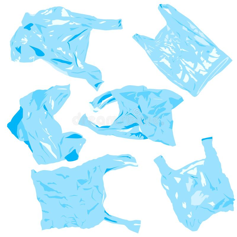 Set of plastik cellophane bags. Reuse, recycle plastic. Ecology problems stock illustration