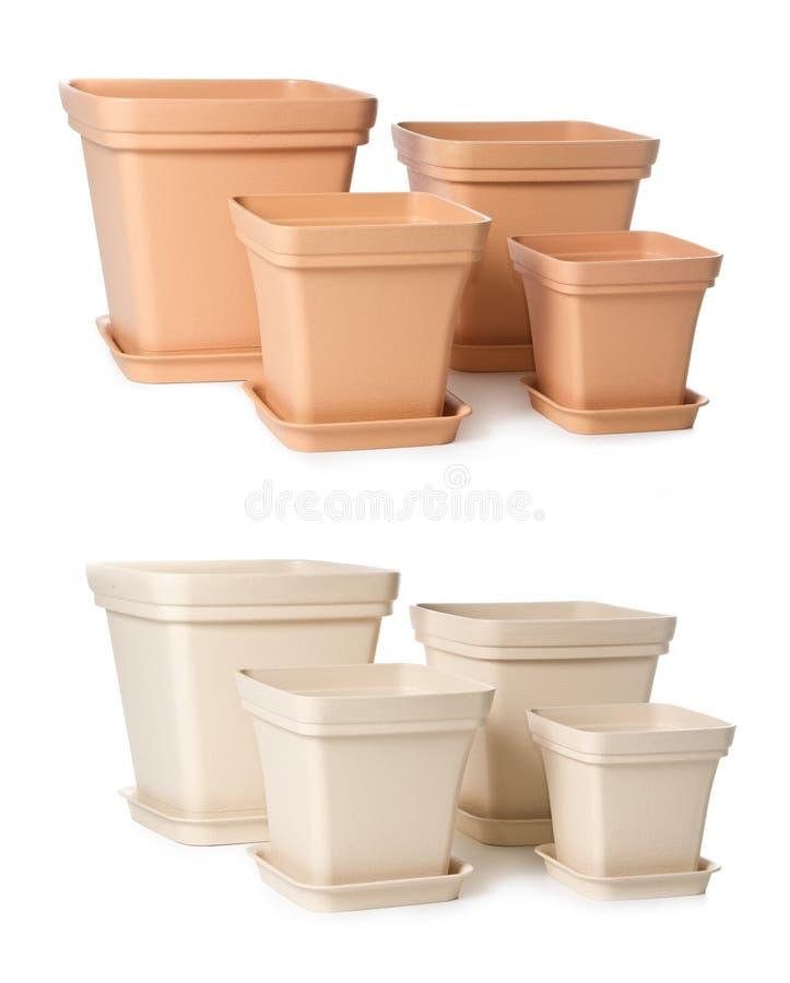 Set Plastikflowerpots für Innenanlagen stockfoto