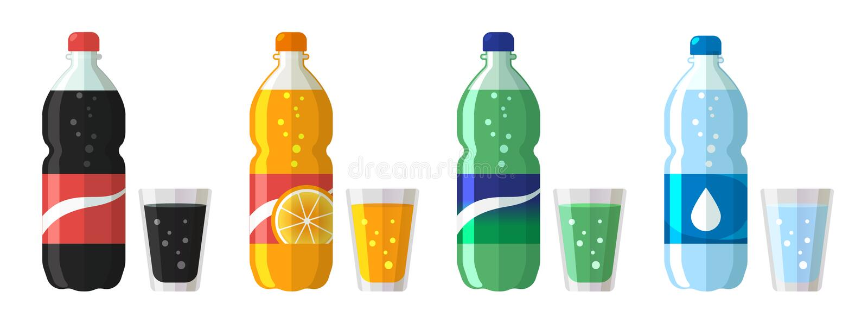 Set plastikowa butelka wodna i słodka soda z szkłami Płaskiej wektor wody ikon sodowana ilustracja odizolowywająca na bielu royalty ilustracja