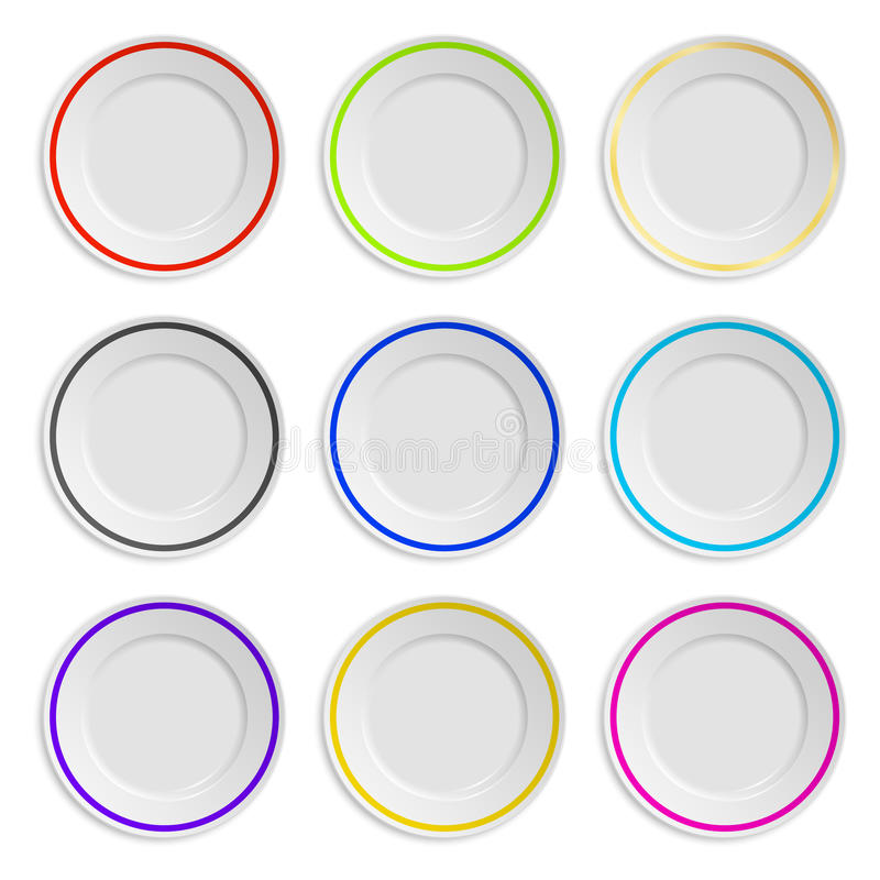 Set of plates with colored stripe isolated on vector illustration