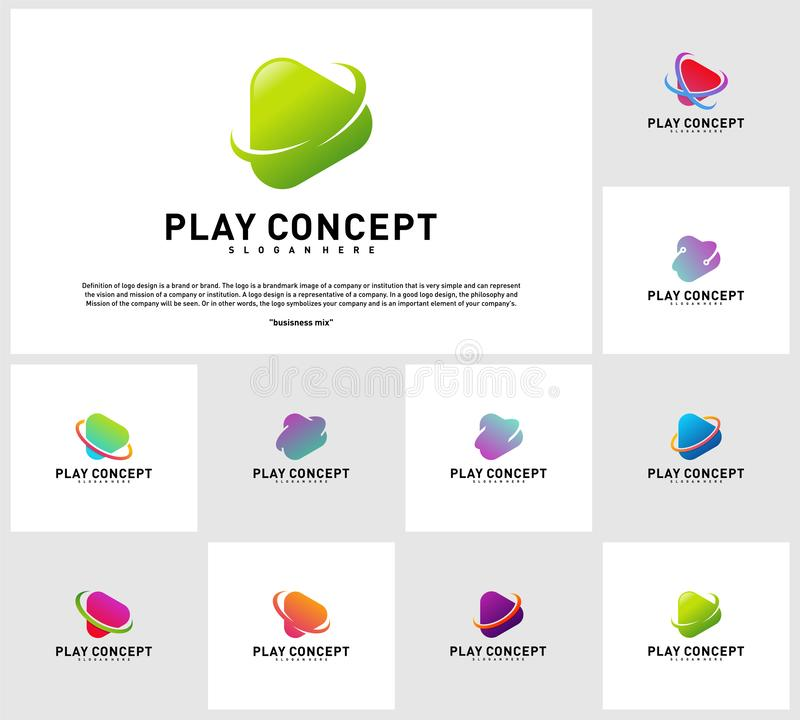 Set of Play logo design concept. Planet Play logo template vector. Icon Symbol.  vector illustration