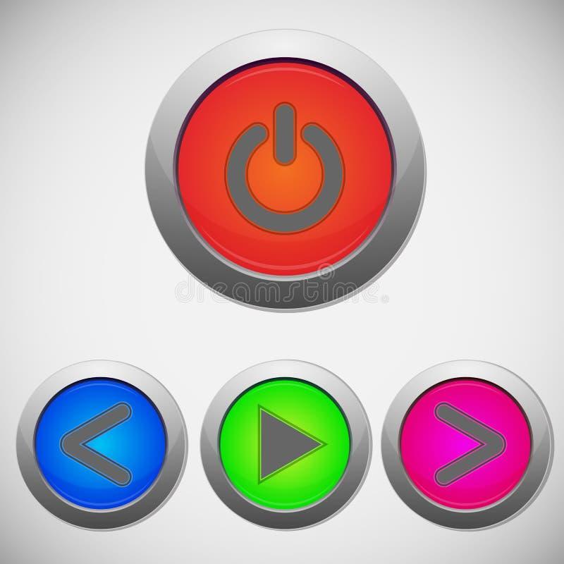 Set of player sign buttons. Illustration vector illustration