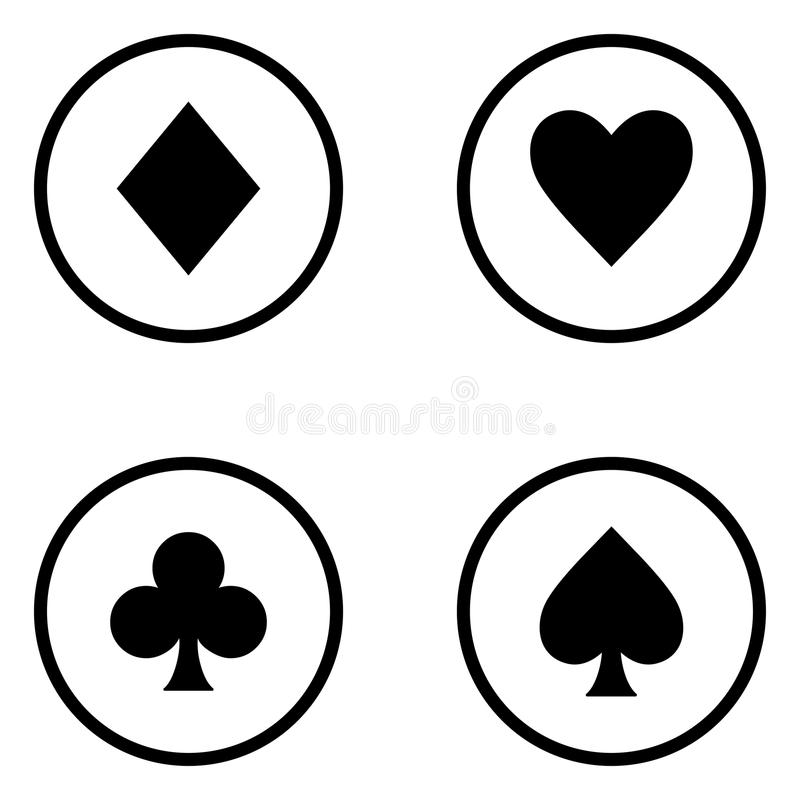 Set of playing card suits stock illustration