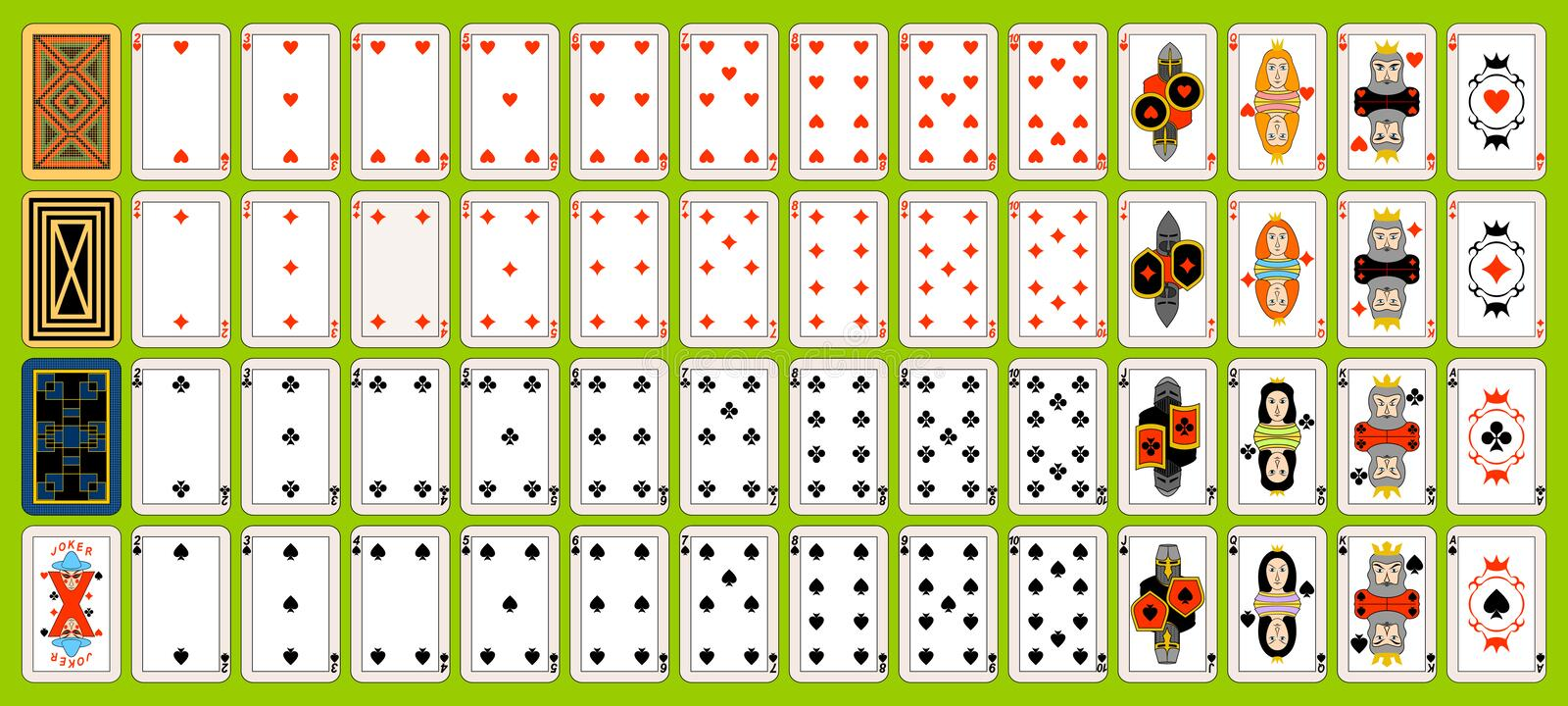 Set of playing cards. royalty free illustration