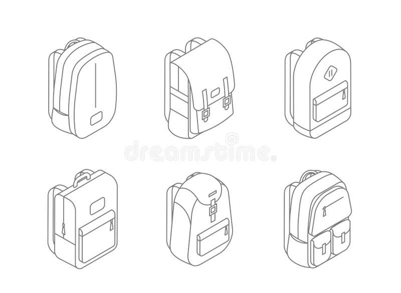 Set plecak isometric ikony w kreskowego projekta wektorowej ilustraci odizolowywającej na białym tle Toreb 3D projekt plecy ilustracji