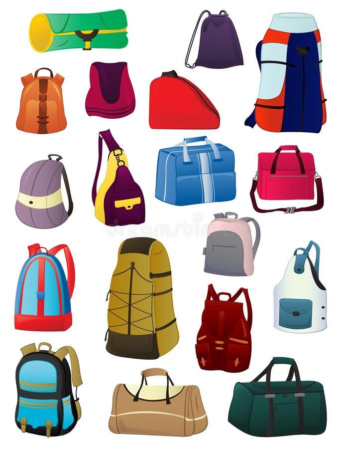 Plecaki i torby ilustracji
