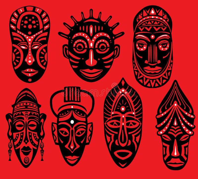 Set Plemienne afrykanin maski na czerwonym tle ilustracji