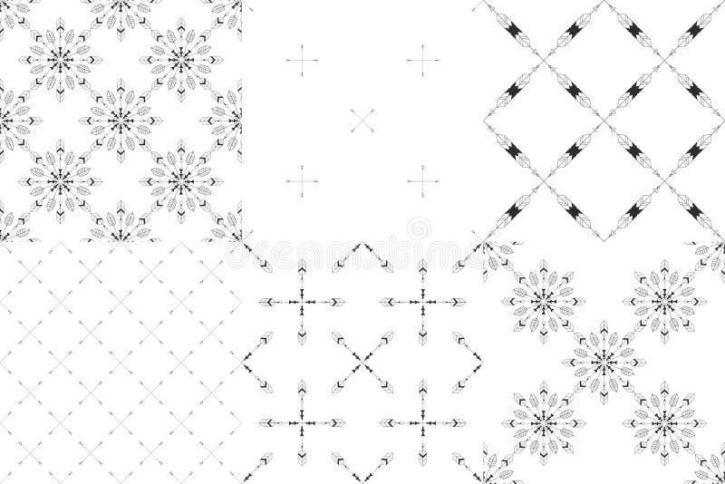 Set 6 plemiennego minimalizmu bezszwowych wzorów obrazy stock