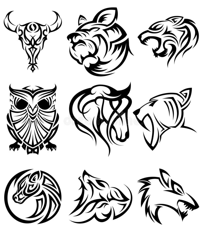 Set plemiennej zwierzę głowy ikony wektorowy symbol dla elementu projekta na białym tle royalty ilustracja