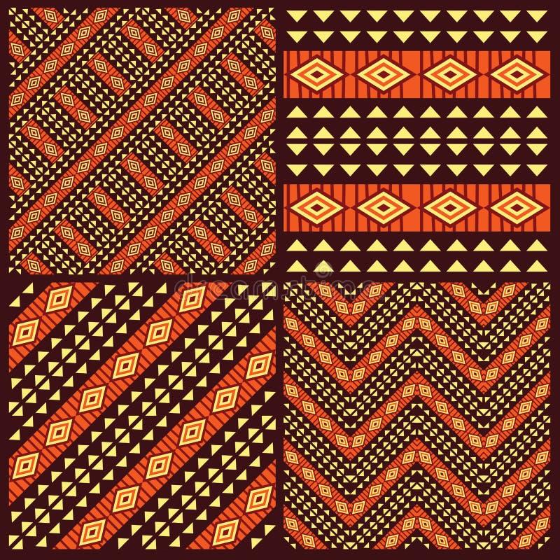 Set plemienni afrykańscy bezszwowi wzory ilustracja wektor