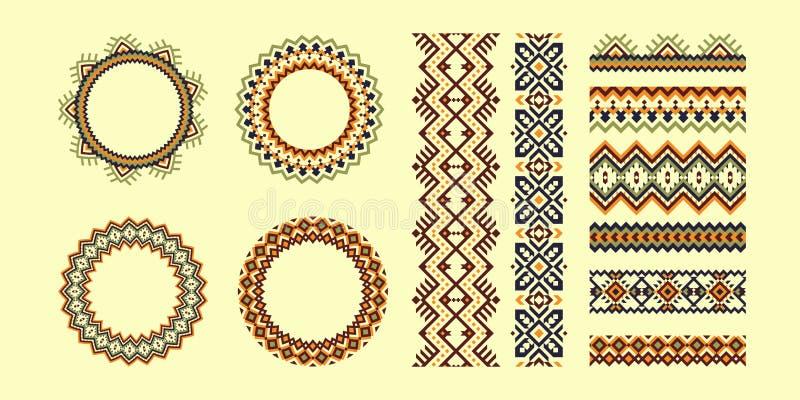 Set Plemienny wzór szczotkuje i ramy w geometrycznym stylu ilustracji