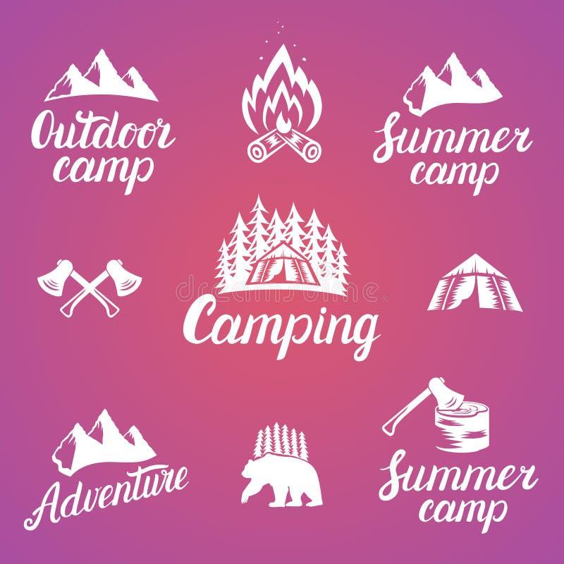 Set plenerowe przygod odznaki i campingowi logów emblematy ilustracja wektor