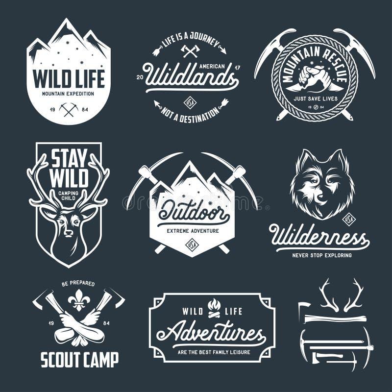 Set plenerowy dziki życie odnosić sie przylepia etykietkę odznaka emblematy Wektorowa rocznik ilustracja ilustracja wektor