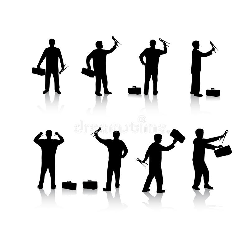 Set of plumber silhouette vector illustrations royalty free stock photography