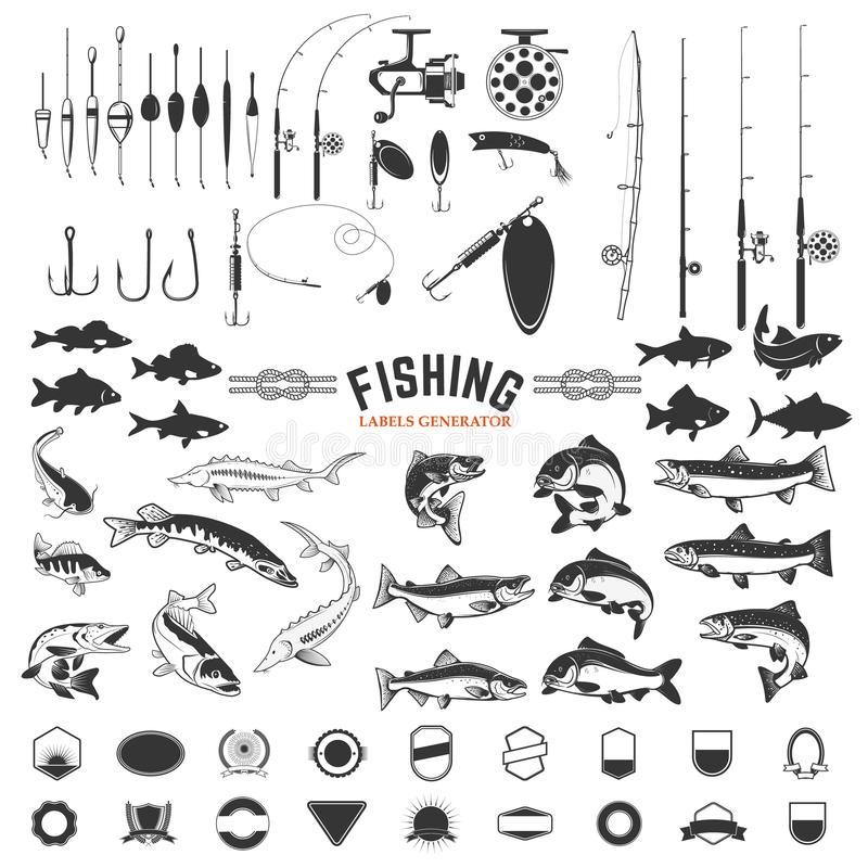 Set połów etykietek projekta elementy Prącia i ryba ikony odsalanie royalty ilustracja
