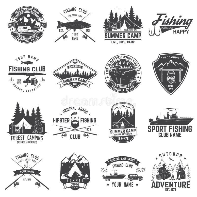 Set połowu i campingu świetlicowa odznaka również zwrócić corel ilustracji wektora ilustracji