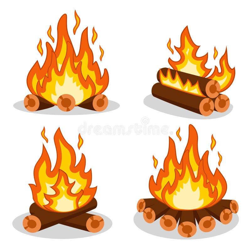 Set pożarniczy drewno na bielu royalty ilustracja
