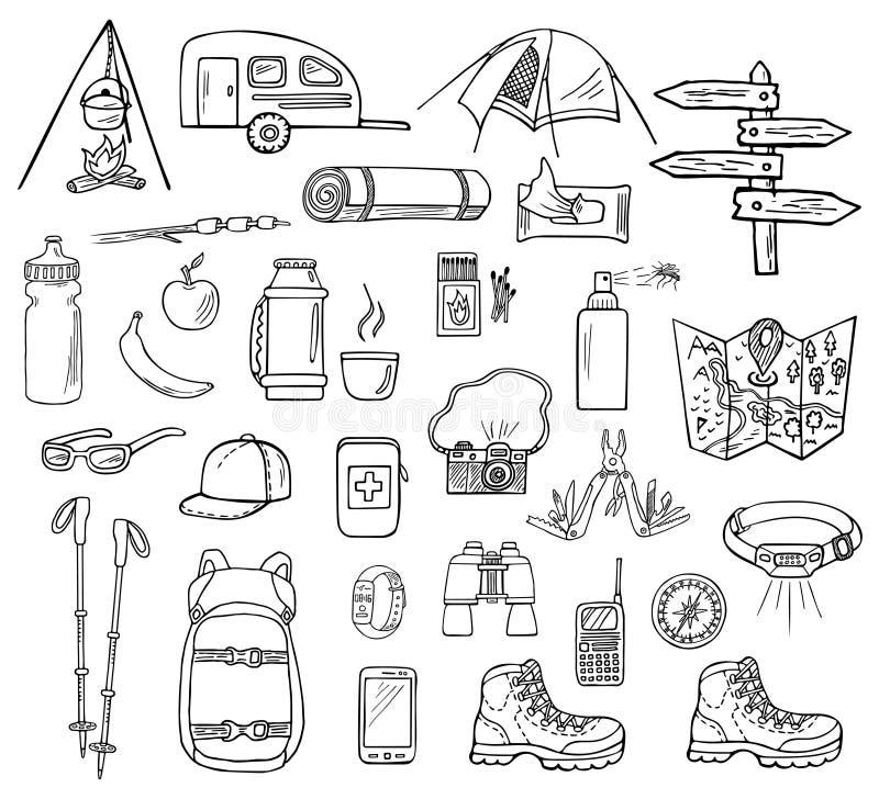 Set pociągany ręcznie campingowe ikony ilustracja wektor