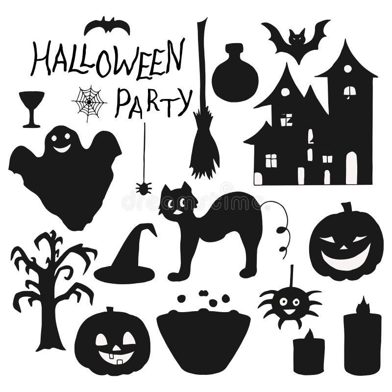 Set pociągany ręcznie czarny i biały elementy dla Halloweenowego wakacje ilustracja wektor