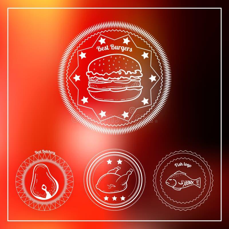 Set 4 pociągany ręcznie butchery i hamburgeru loga royalty ilustracja