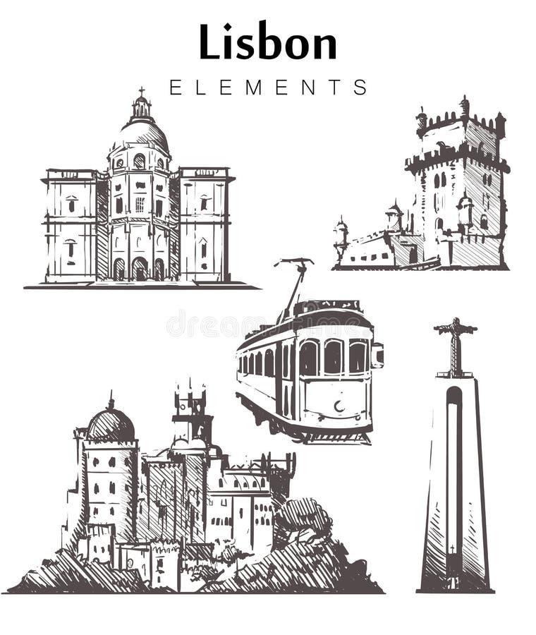 Set pociągany ręcznie Lisbon budynki Lisbon elementów nakreślenia wektoru ilustracja ilustracji