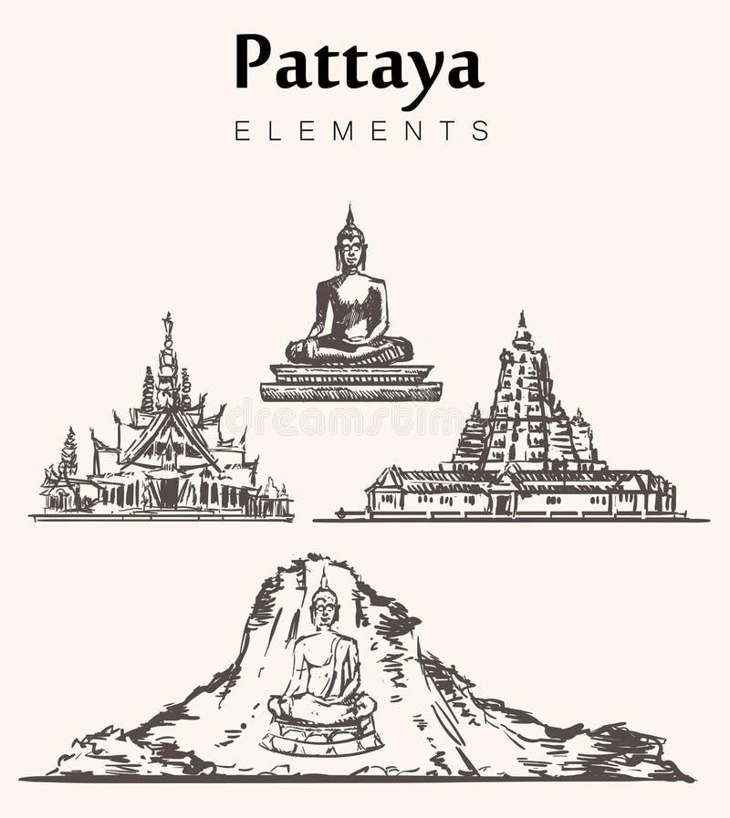 Set pociągany ręcznie Pattaya budynki Pattaya elementów nakreślenia wektoru ilustracja royalty ilustracja