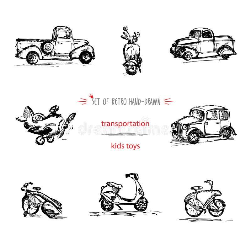Set, pociągany ręcznie roczników dzieciaków transport bawi się, samochód, motocykl, bicykl, ciężarówka i samolot, Szybki atrament royalty ilustracja