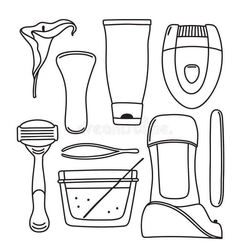 Set pociągany ręcznie włosiany usunięcie, depilacj narzędzia ilustracja wektor