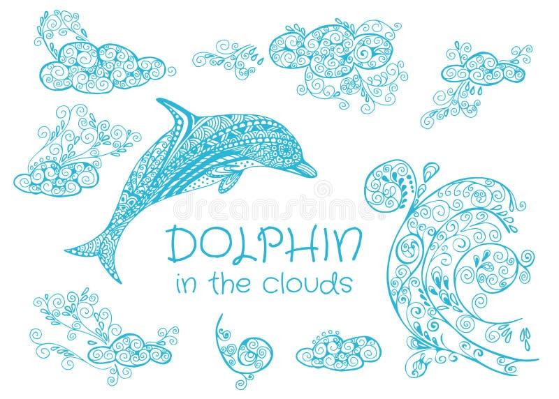 Set pociągany ręcznie wektorowi elementy doodled delfinu w chmurach ilustracji