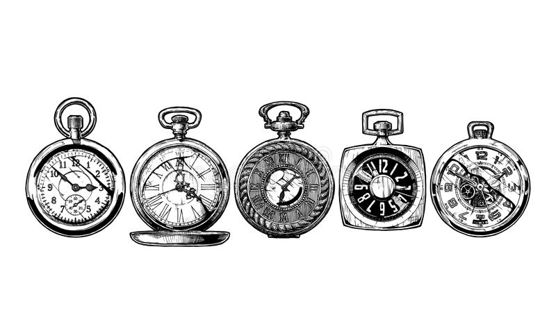 Set of pocket watches. Vector ink hand drawn set of pocket watches. Black and white illustration. isolated on white royalty free illustration