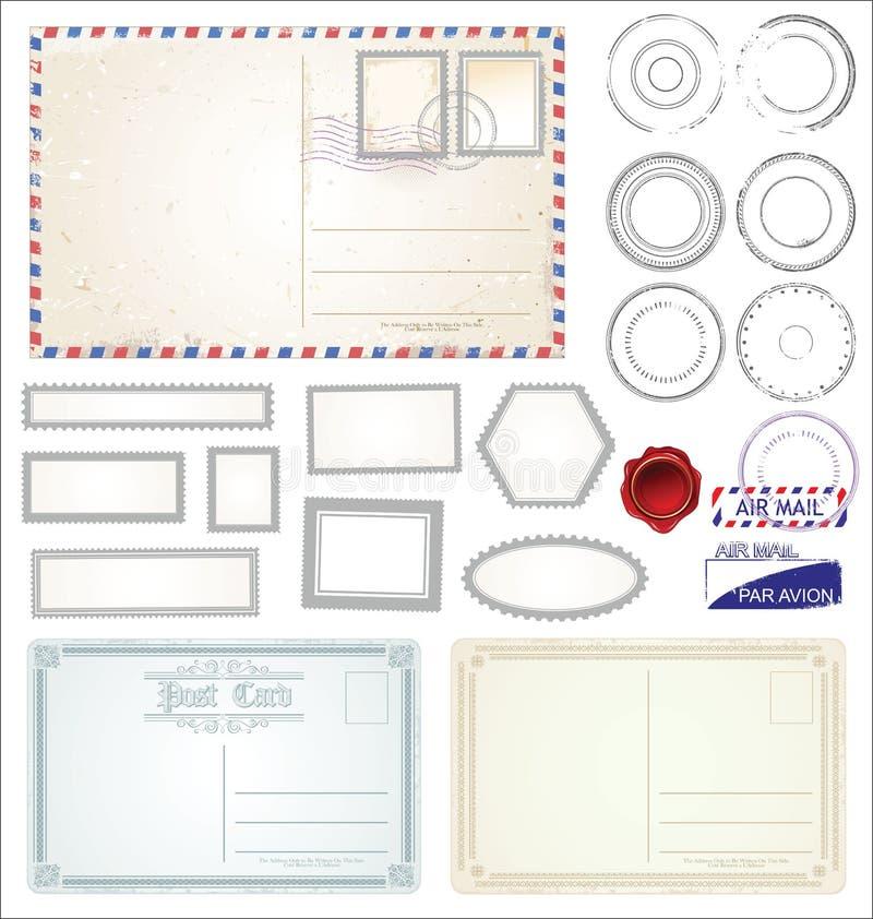 Set poczta znaczka symbole ilustracyjni ilustracja wektor