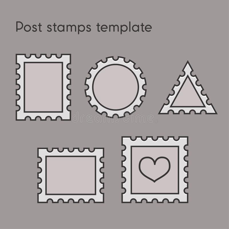 Set poczta znaczka szablon ilustracja wektor