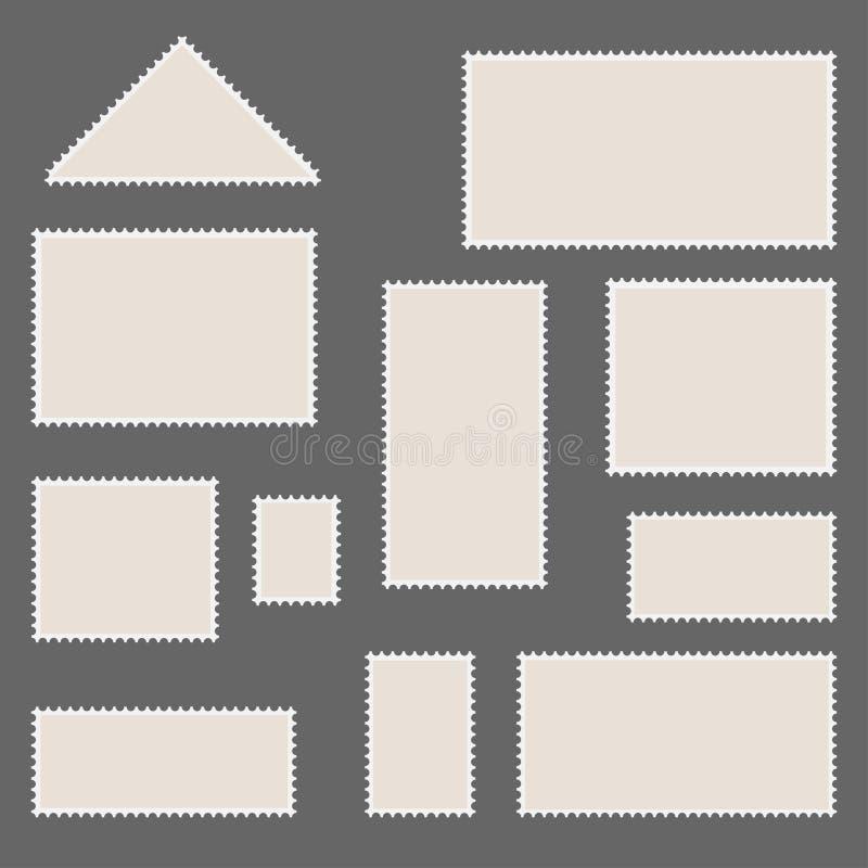 Set pocztowe ram ikony, znaczki ilustracji