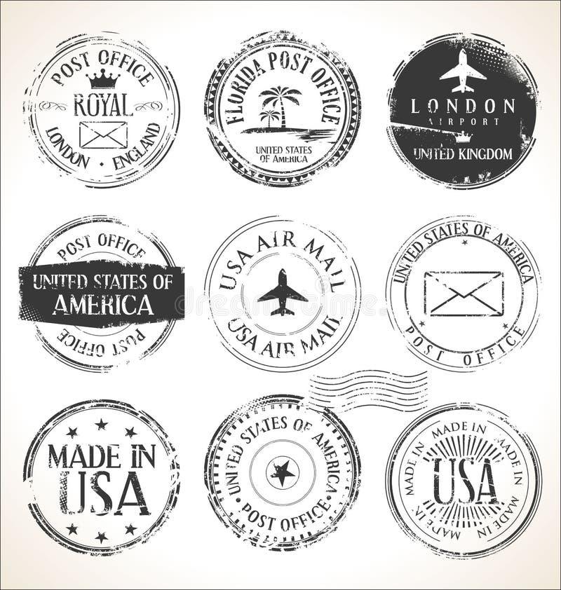 Set pocztowi znaczki i pocztówki na białego tło poczty urzędu pocztowego lotniczej poczcie ilustracja wektor