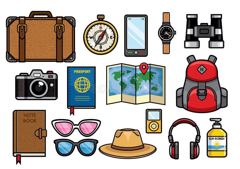 Set podróżować przedmioty inkasowych ilustracji
