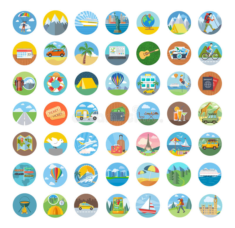 Set podróży ikony Płaski projekt ilustracji