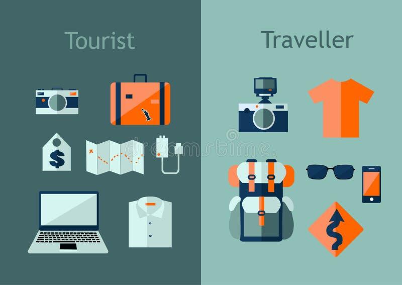 Set podróży ikony w mieszkanie stylu Planu podróży pojęcie Wektorowa ilustracja z projektów elementami, plecak, mapa, kamera, lap ilustracji