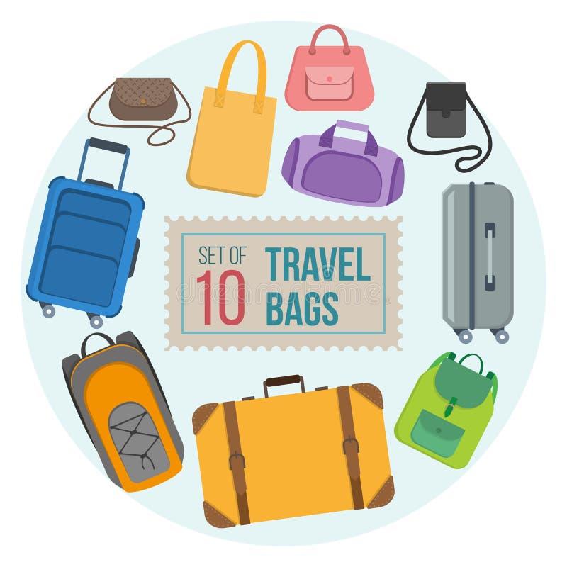 Set podróży torby ilustracji