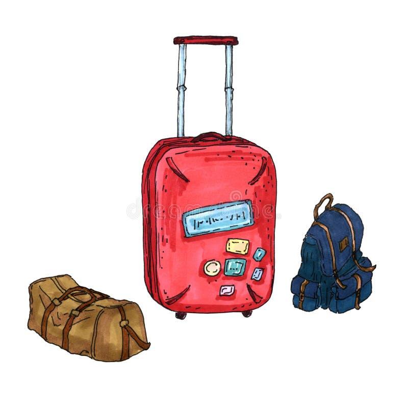 Set 3 podróży torby: czerwona walizka, błękitny plecak i beżowa torba, ręka malujący nakreślenie ilustracji