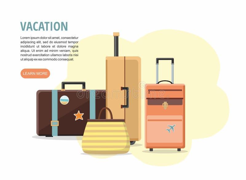 Set podróży walizki na białym tle wakacje ilustracja wektor