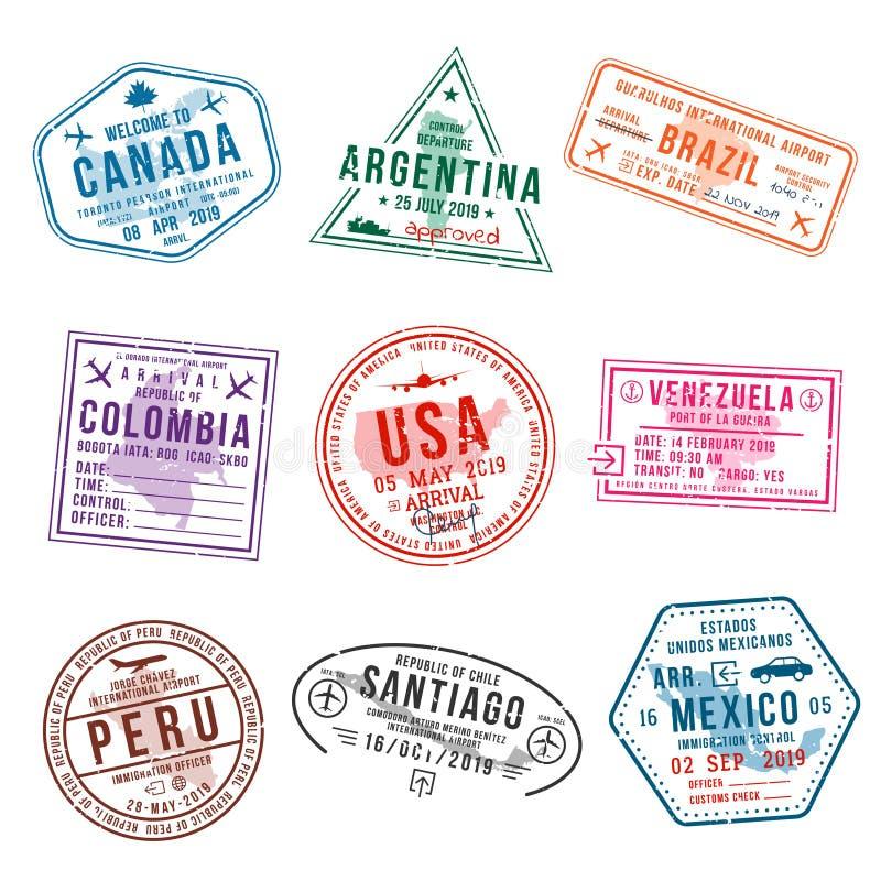 Set podróży wizy znaczki dla paszportów Międzynarodowego i imigracyjnego biura znaczki Przyjazdowi i wyjściowi wiza znaczki royalty ilustracja
