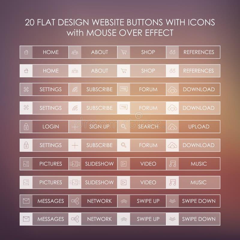 Set 20 podstawowych stron internetowych ikon w nowożytnych płaskich projekta i ducha guzikach ilustracja wektor