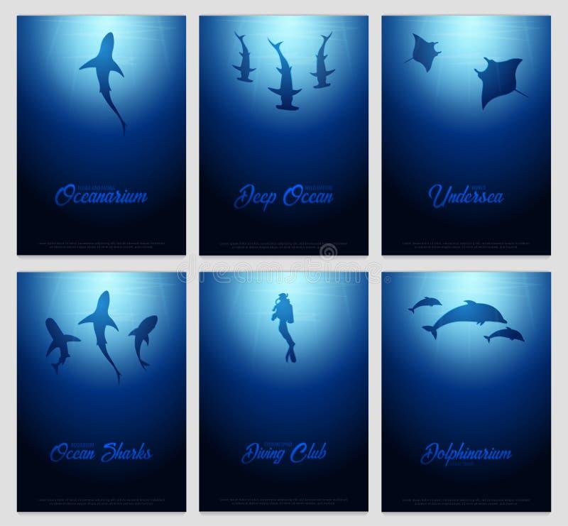 Set Podwodni tła z słońce promieniami i sylwetka fishs Głębokiego oceanu plakaty kolor plażowej dziewczyny ilustracyjny magazyn c ilustracji
