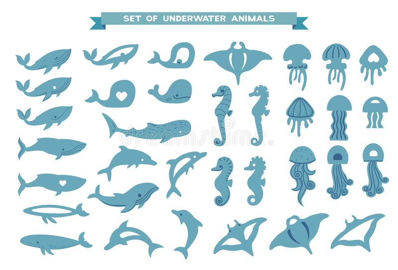 Set podwodni zwierzęta - wieloryb, delfin, jellyfish, manta promień ilustracji