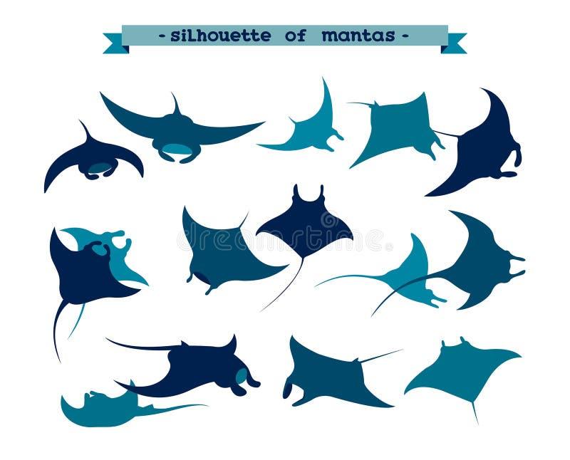 Set podwodny manta promień ilustracji