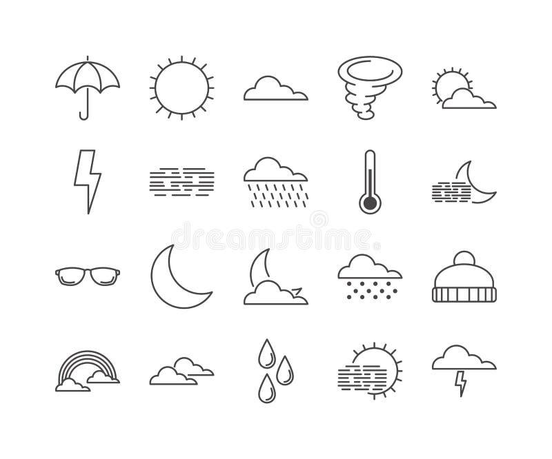 Set 20 pogod kreskowych ikon ilustracji
