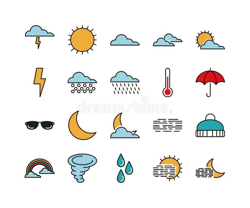Set 20 pogod kreskowych ikon ilustracja wektor