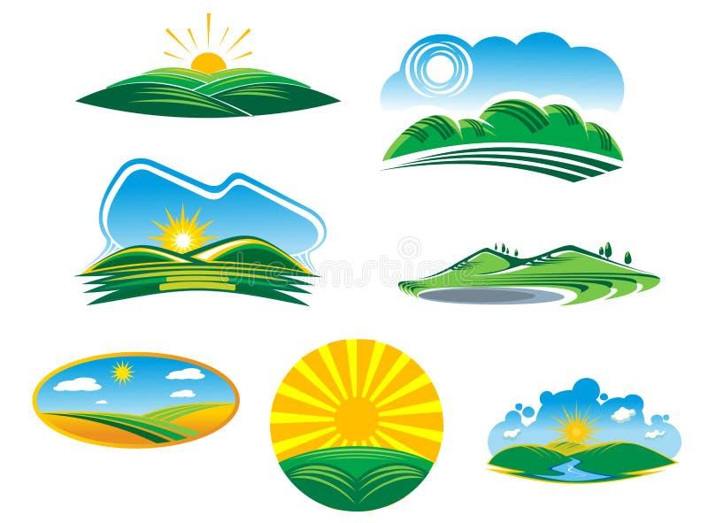 Set pogodni lato krajobrazy royalty ilustracja