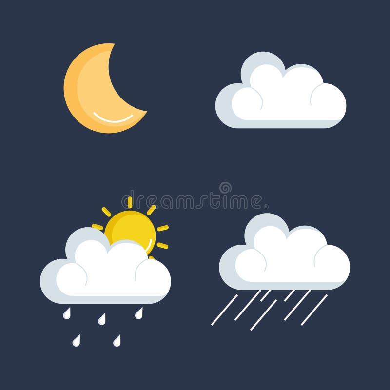Set pogodowe status ikony ilustracji