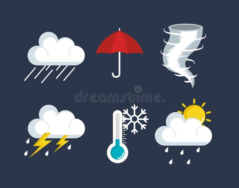 Set pogodowe status ikony ilustracja wektor
